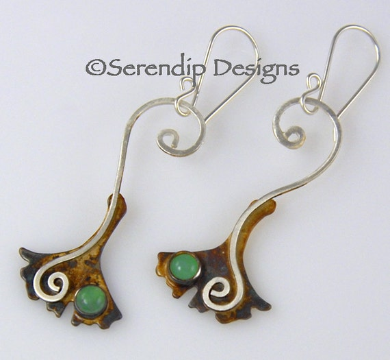 Silver Spiral Ginkgo Leaf Earrings with Chrysoprase Gingko Leaves