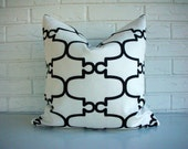 Decorative Accent Pillow Cover Throw - Black White - Modern Glam - Hollywood Regency - Geometric Moroccan Trellis Print 18 x 18
