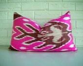 Ikat Pillow Cover Decorative Lumbar Throw - Bohemian Chic - Silk Cotton - Hot Pink Fuschia Maroon White - Bright Modern Boho 12 x 20