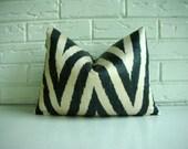 Pillow Cover Decorative Lumbar Throw - Black Ivory Chevron Ikat - Zig Zag Pattern - Silk Cotton - Bohemian Chic Boho Modern Glam 12 x 16