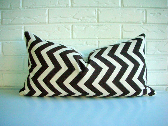 Chocolate Brown Chevron Pillow Cover - Zig Zag Decorative Throw Pillow - Mid Century Modern