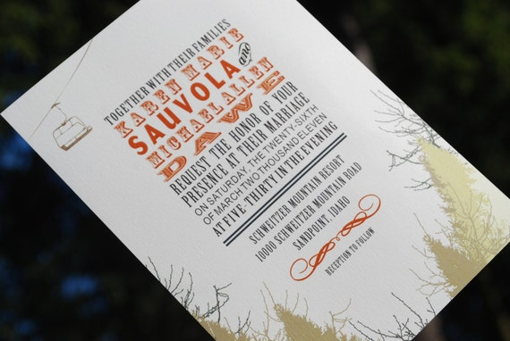Mountain Snow And Ski Lift Wedding By HobsonHouseDesign On Etsy
