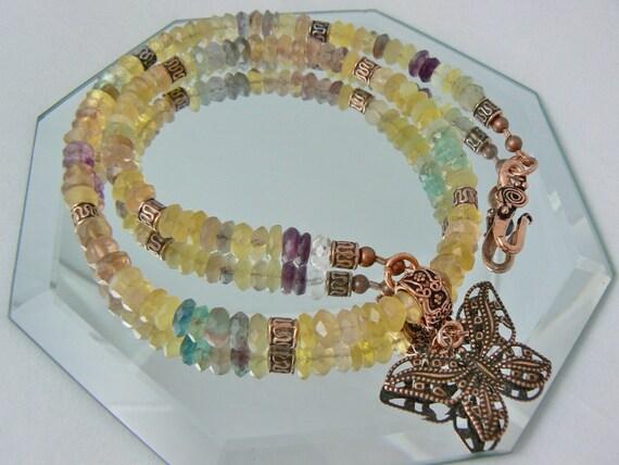 RESERVED- Rainbow Fluorite Necklace, Fluorite Necklace, Gemstone Necklace