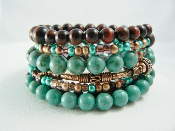Turquoise Stacking Bracelet Beaded with Copper and Red Tigers Eye