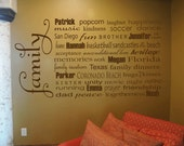 Family Subway Art Typography Word Art  -  Vinyl Wall Decal - Custom Designed With Your Choice of Words - Your Choice of Color