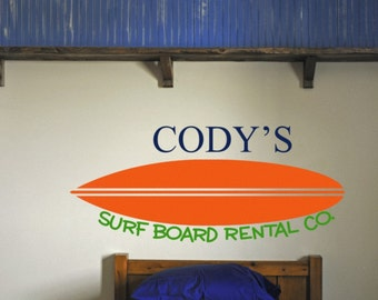 Customized Surfboard Name Vinyl Wall Decal
