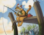 Fishing Cat Print