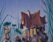 Turtlehouse in the Rain - Original Painting