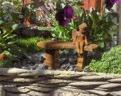 Minaiture Fairy garden bench with cherub