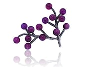 Silver Brooch violet agates Branch Collection - Coderque
