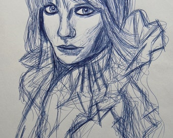 A Pen drawing based upon Mischa Barton