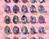 40x30mm or 18x25mm Alice in Wonderland Colorful Classic Vintage. Cameo Cabochon Pendant Charm. AColoful2.1-25