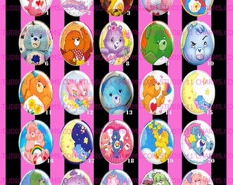 LOW DOME 40x30 or 25x18 Care Bears Retro 80s Kawaii Vintage. Cameo Cabochon Pendant Charm. CB1.1-25