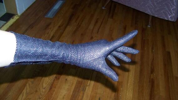1950's LUREX Evening Gloves Shiny High Glam Elbow Opera Gloves Confetti Burlesque Rockabilly VLV