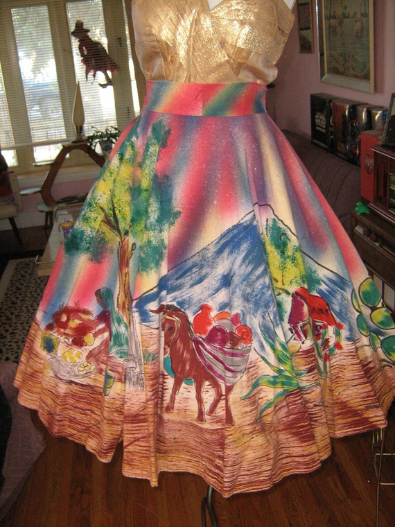 1950's Colorful TEL-ART Mexican Handpainted Circle Skirt Novelty Atomic Colorful Mexican Collectible Dress Skirt Rockabilly VLV