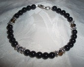 Black glass beaded bracelet w/  Swarovski crystals