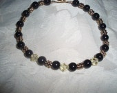 Black glass beaded bracelet w crystals