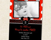 Minnie Mouse  Inspired Birthday Invitations