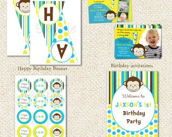 Mod Monkey Birthday Party Package - DIY Printable