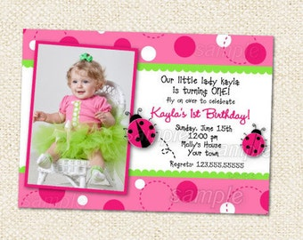 Pink Ladybug Birthday Invitation