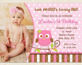 Girl Owl Birthday Invitations