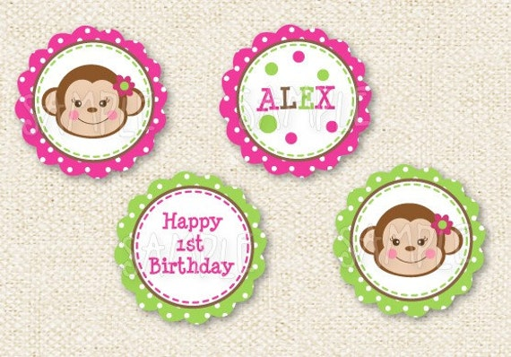 "Cute  Monkey   - Personalized DIY printable 2"" cupcake toppers Party Circles"
