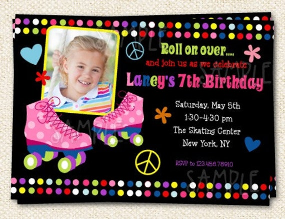 items similar to roller skate birthday party invitations on etsy, invitation samples