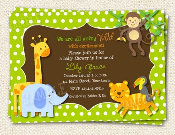 Safari jungle baby shower invitations for Baby shower party junge