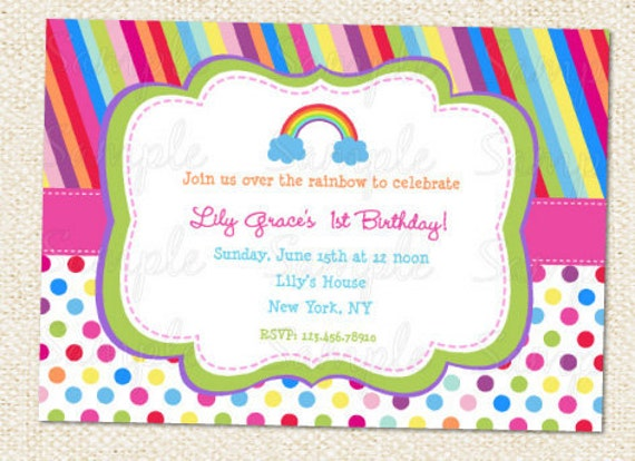 rainbow birthday party invitations, rainbow 1st birthday party invitations, rainbow birthday party invitation card, rainbow birthday party invitation wording