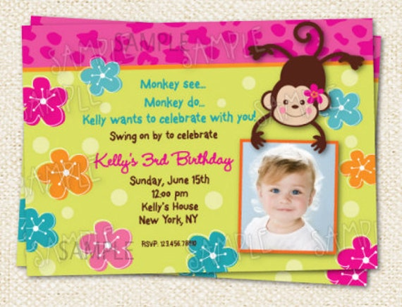 Monkey love party invitations - photo#2