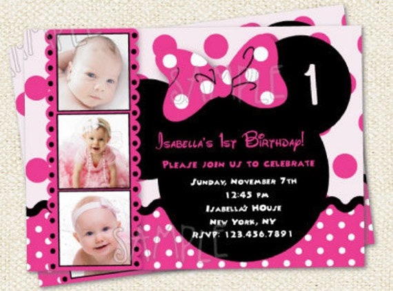 minnie mouse inspired custom photo birthday party invitations, invitation samples