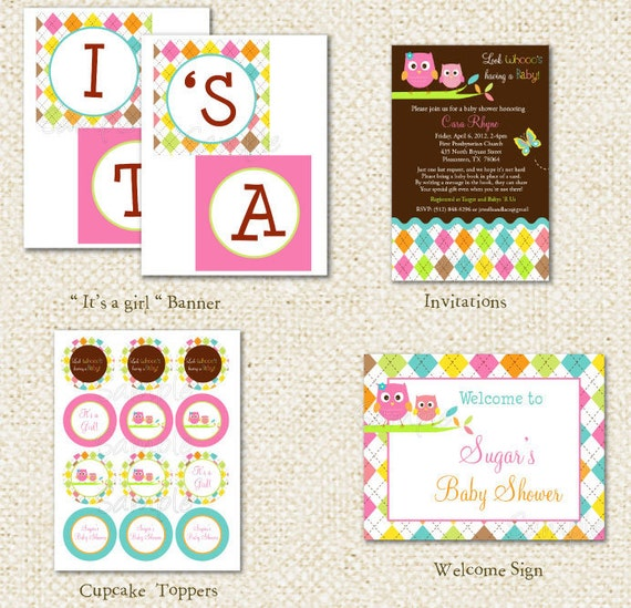 Owl Baby Shower - DIY Printable Personalized Birthday Party Package Party Pack