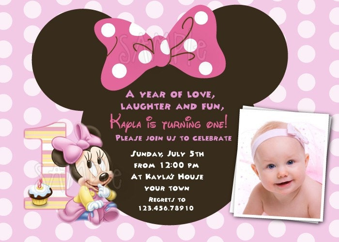 Baby Minnie Mouse 1st Birthday Custom Photo birthday Party