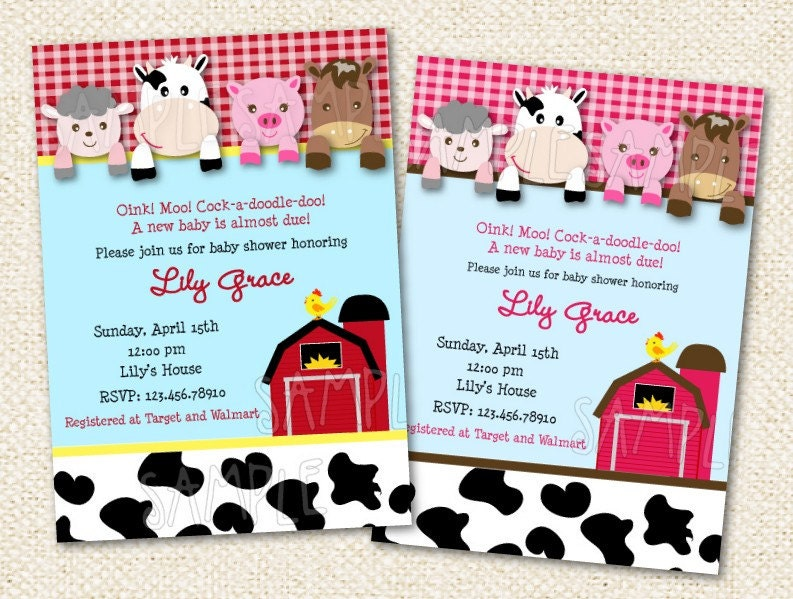 barnyard baby shower invitations