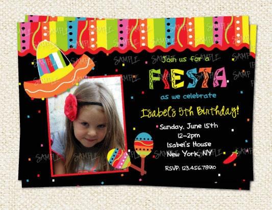Mexican Fiesta Photo Birthday Invitation