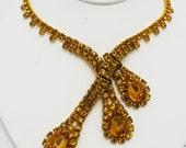 Vintage Swag Necklace Topaz Rhinestone