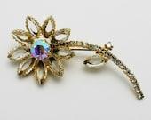 Vintage Brooch Golden Flower