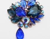 Vintage Brooch Cobalt Sapphire Blue with Dangle