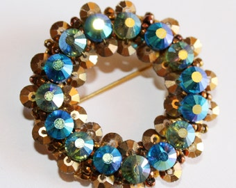 Hobe Brooch Blue and Gold Vintage