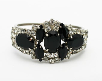 Classic Vintage D & E Clamper Bracelet Black and Clear Rhinestones