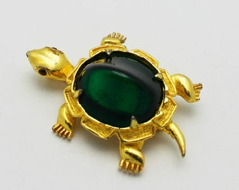 Turtle Brooch Vintage Kramer Green Glass on Goldtone