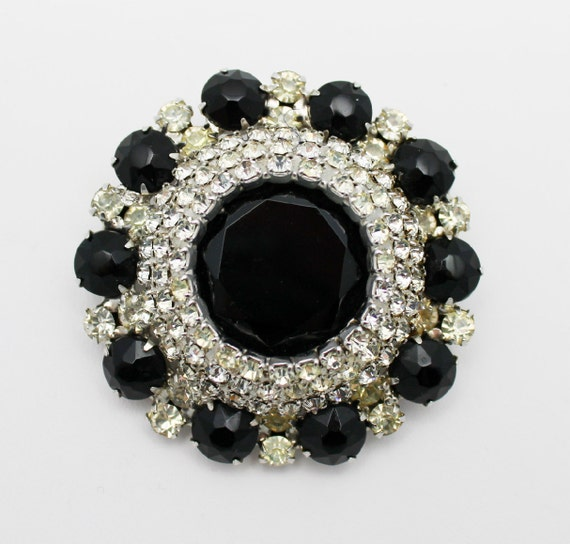 Vintage Juliana Brooch Black and Clear