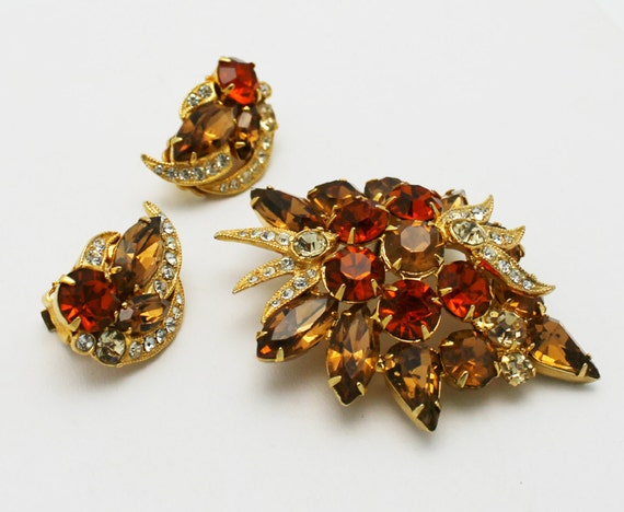Reserved for Faye - Vintage Eisenberg Ice Brooch Set Fall Colors