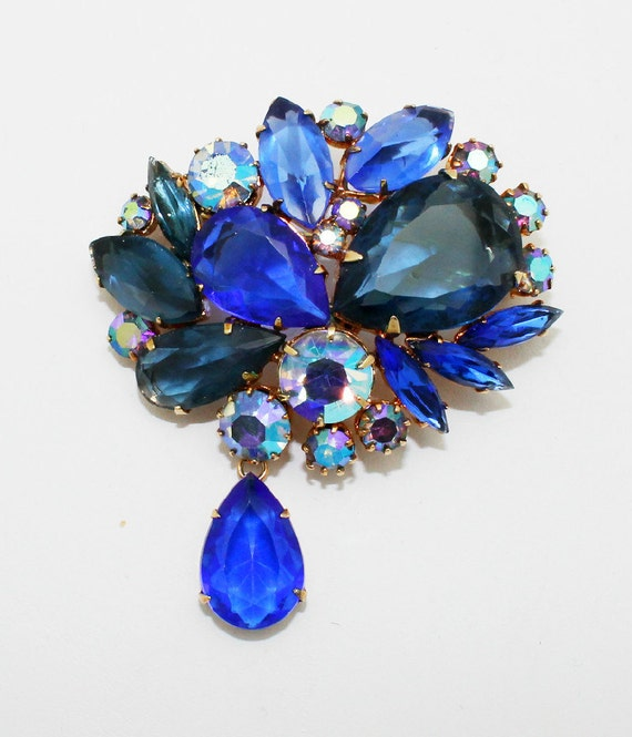 Vintage Brooch Cobalt Sapphire Blue with Dangle
