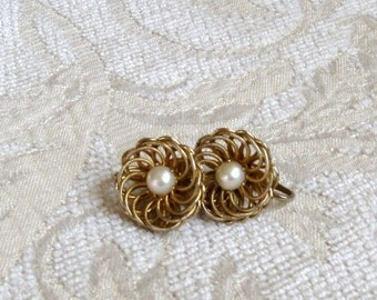 Gold and Pearl Clip on Earrings