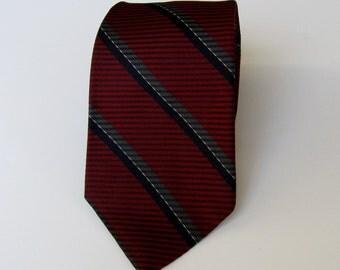 Vintage Christian Dior Burgandy and Blue Stripe Tie