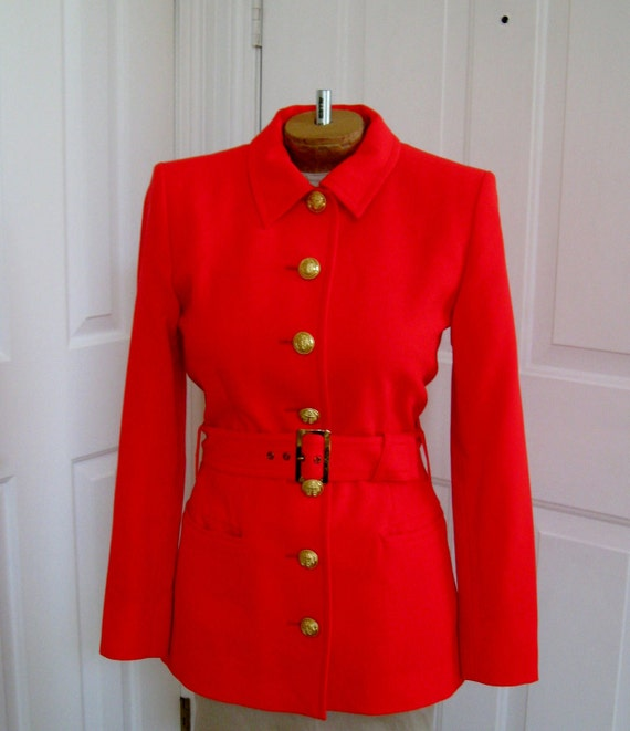 Vintage YSL Yves Saint Laurent Bright Orange Safari Style Jacket