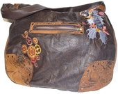Steampunk leather handbag - koi fish