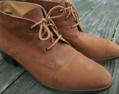 Vintage Camel Lace Up Ankle Boot