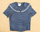 Vintage 1970s sailor nautical navy blouse shirt